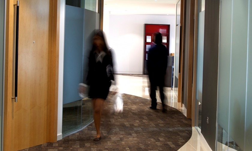 blurry office